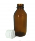 Glass Amber Bottle 100ml with White Tampertel Lid