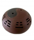 Clay Cone/Incense Holder - Yin Yang Lidded Dish.