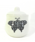 Sugar Bowl with Butterfly Design